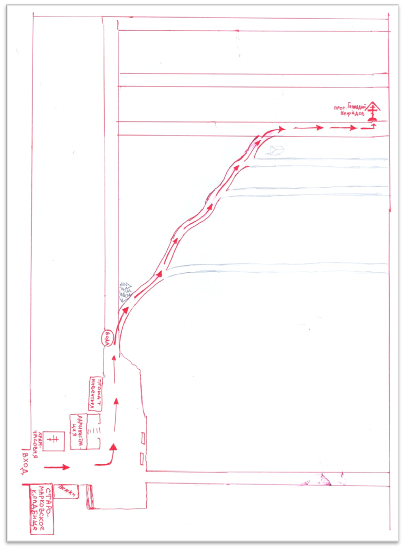 схема прохода к могиле о.Геннадия